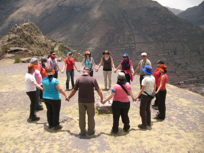 Group Meditation at Pisac - Vegetarian Peru Adventures