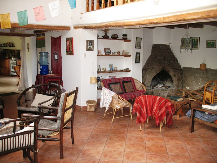 Lounge at the Andean Spirit Lodge - Vegetarian Peru Adventures