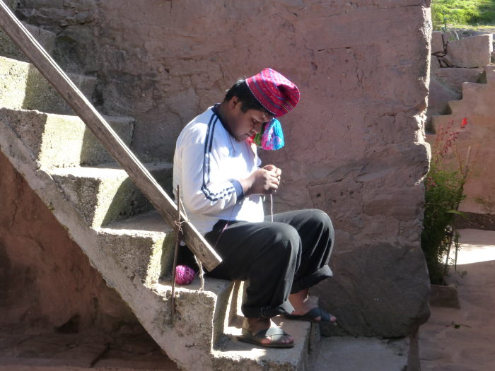 Quechua Man Knitting - Vegetarian Peru Adventures