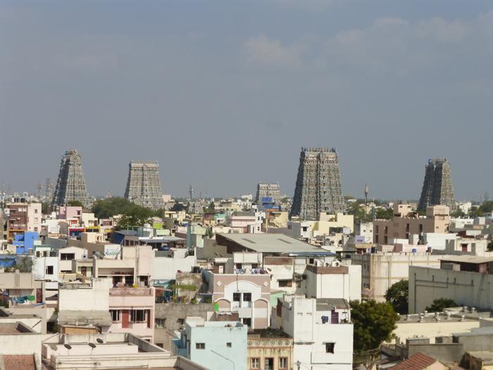 view of the Lakshmi Amman temple in Madurai