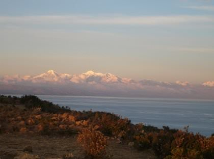 View of the Cordillera Real from the Sun Island - Vegetarian Peru Adventures