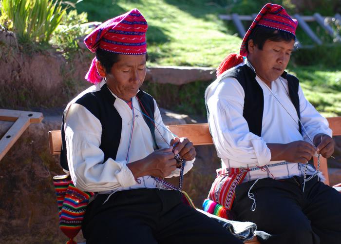 Men Knitting on Taquile Island - Vegetarian Peru Adventures