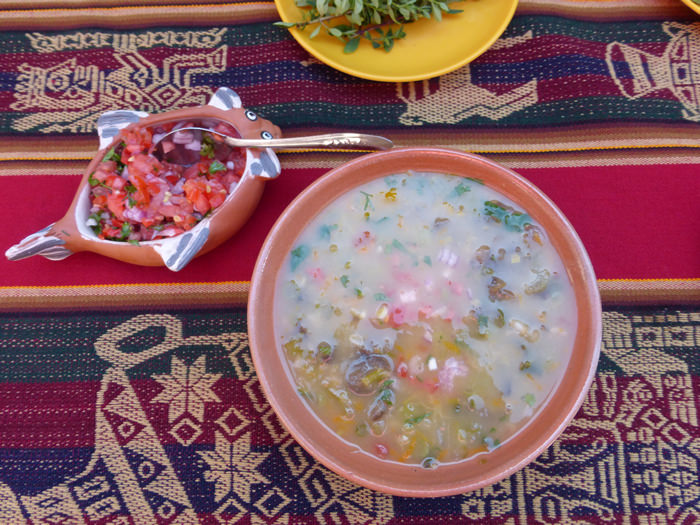 vegetable soup with chuño potato on Taquile Island